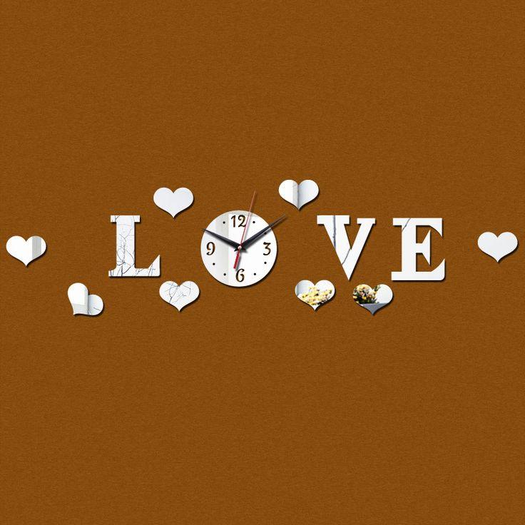 2015 promoção espelho acrílico 3d amor geométrica Modern adesivos de parede Quartz mecanismo de relógio sala decoração frete grátis alishoppbrasil