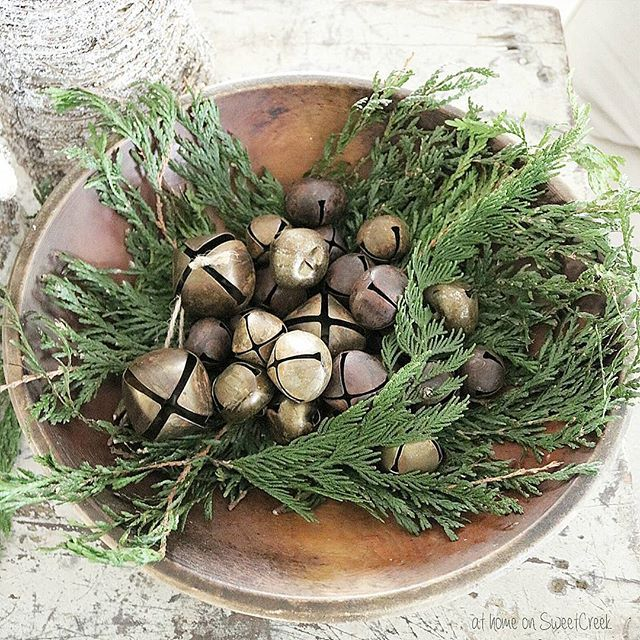 Rustic Christmas/winter - greenery in wooden dough bowl