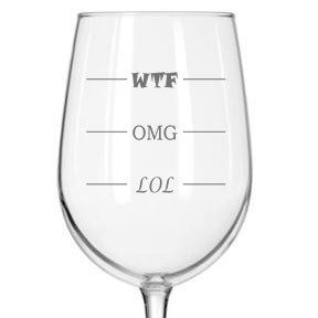 LOL-OMG-WTF Funny Wine Glass - Finally a Wine Glass for Every Mood! 16 oz Libbey Wine Glass - Humorous Gift or Conversation Starter