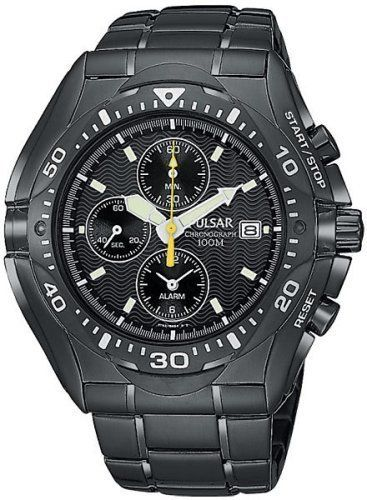 Pulsar Men's PF3663 Tech Gear Alarm Chronograph Black Ion Watch Pulsar. $155.00. Strong Hardlex crystal protects watch from excessive wear on dial. Quality Japanese-quartz movement. Stainless steel case; black dial; date function; chronograph functions. Water-resistant to 330 feet (100 M). Alarm chronograph, 1/5 second stop watch, records elapsed time up to 60 min., split time measurement