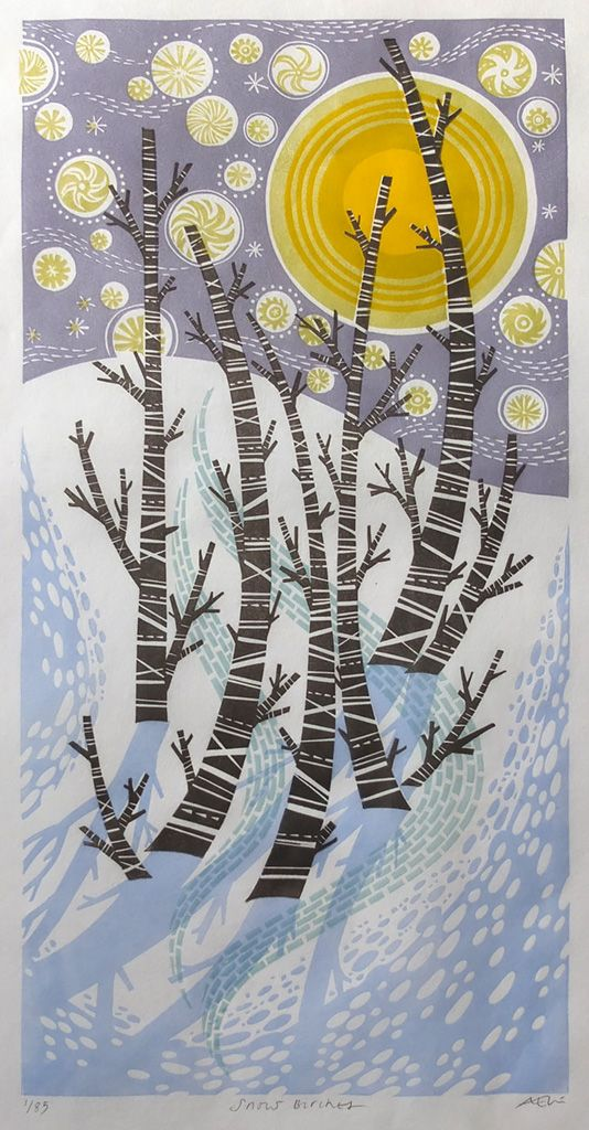 Angie Lewin 'Snow Birches' linocut http://www.angielewin.co.uk/collections/st-judes-in-the-city-november-2016/products/angie-lewin-snow-birches-linocut