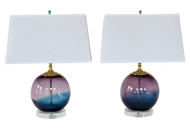 Orchid & Nile Blue Glass Lamps