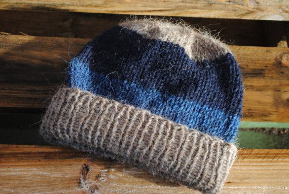 Hat Hand Knit Gray Hat With Blue Stripes Organic Made by Kolbrún Gunnarsdóttir aka Kollestrik, $60.00