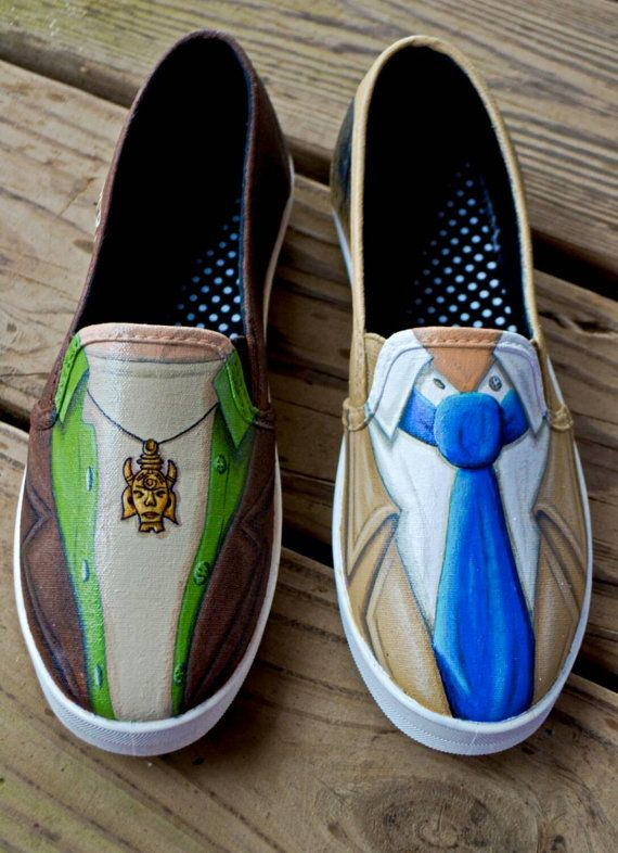 Supernatural Cas and Dean hand painted shoes. Destiel outfit. Etsy SPN fandom slip ons. Anti-possession symbol and Castiel wings.