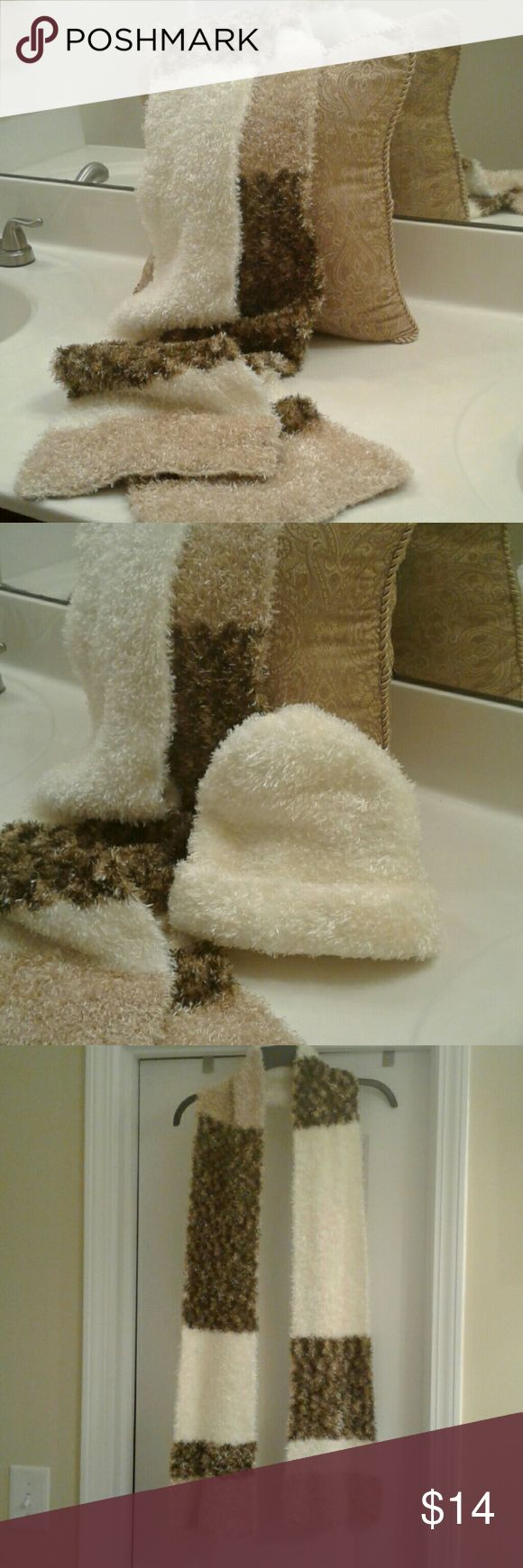 """Scarf This St. John's Bay beauty features super soft feather chenille scarf and hat! Beautiful white, tan and earth tones colors. Just in time for winter.  Hand wash cold Dry Flat 76"""" L x 9"""" W 100% Polyester St. John's Bay Accessories Scarves & Wraps"""