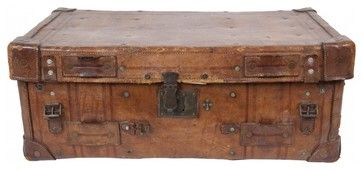 Antique Leather Valise traditional storage boxes