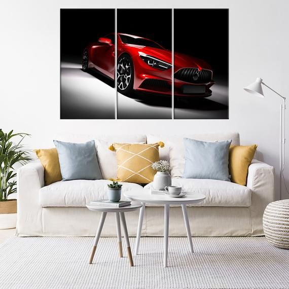 Red Sports Car Print Canvas Picture Wall Art Gift for boyfriend Kids Decor Super Car Apartment Decor