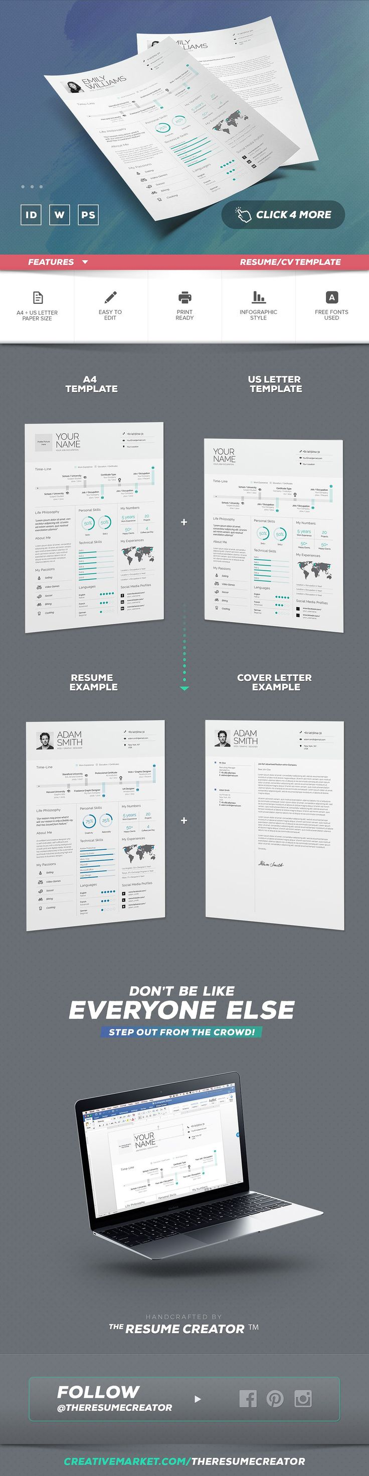 Infographic Resume/Cv Template Vol.8 by TheResumeCreator on @creativemarket