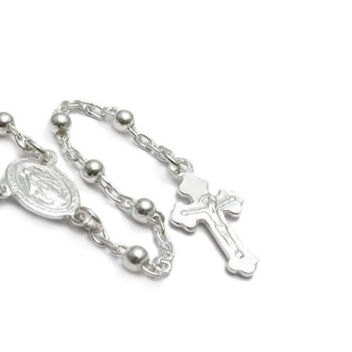 925 Modern Sterling Silver Rosary Beads Crucifix Necklace 24 Inch