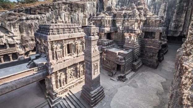 The ancient temple, found at the Ellora Caves in India, is carved from a single rock (Credit: Thinkstock)