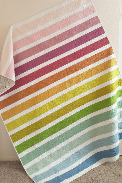 Woodberry Way- muted rainbow striped quilt tutorial, with color names