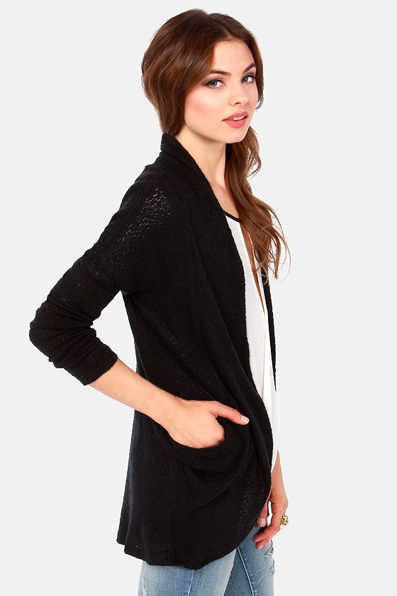 Sweater Business Bureau Black Cardigan Sweater at LuLus.com! A black cardigan is a must for me every winter. The cut of this one looks like it will work day or night. #lulus #holidaywear