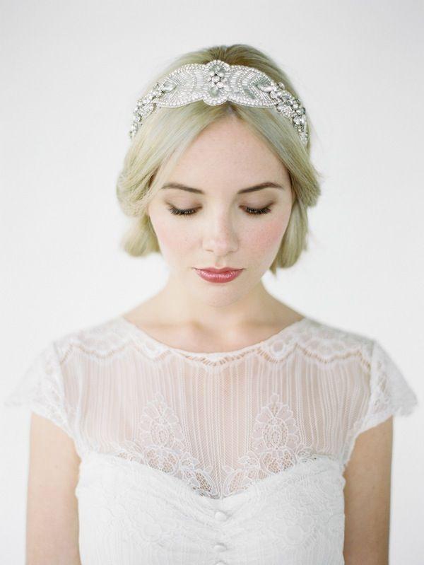 CAMILLE crystal beaded bridal headband by Percy Handmade | Jarred Tyers Photography