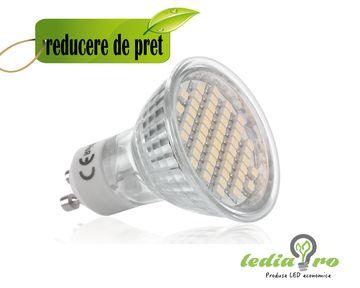 Spot LED  4w  , cu 60 led smd , soclu GU10   220v aluminiu