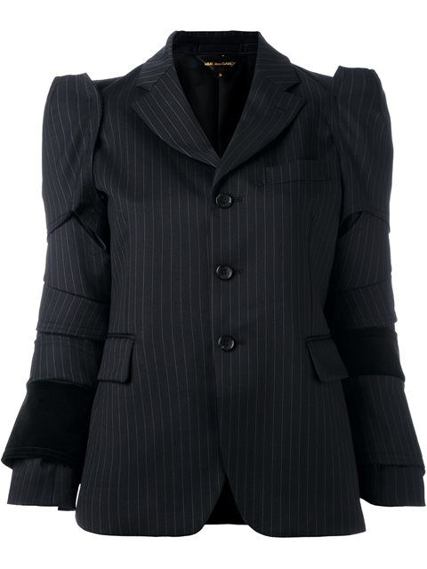 Comme Des Garçons panelled pinstriped blazer