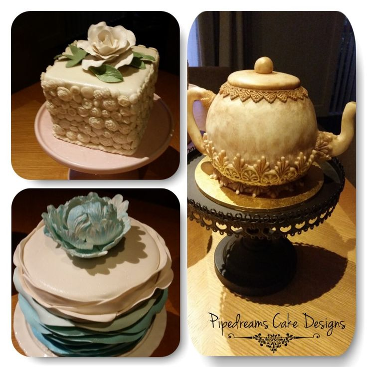 Cute button cake with single rose on top. Blue ombre ruffle cake with single peony flower on top. Vintage teapot cake. Using Marvellous moulds.