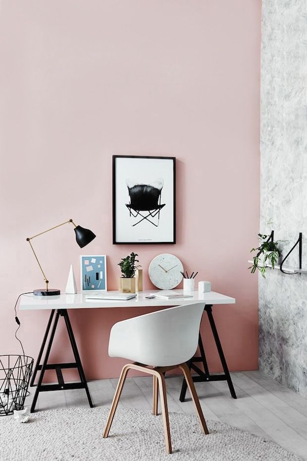 pink and gray home office // home office rosa e cinza