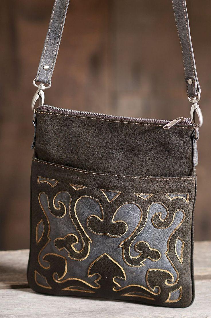 Women's Hand-Tooled Cross-Body Leather Handbag