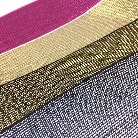 Premium Elastic with metallic thread per meter  Gold Silver