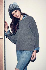 dámský ručně pletený svetr a čepice z příze Merino 105 a Softy