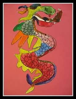 Water color Chinese dragons art lesson