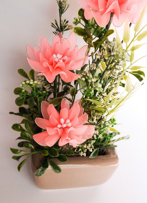 Coral Chrysanthemum Flower Arrangement  Nylon Flowers by JJnKo, $45.00
