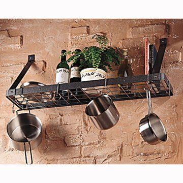 Not enough space for drop down from ceiling, try this one. This is another one: http://www.diywithadd.com/2010/05/07/diy-pot-rack/