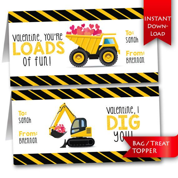 Construction Vehicle DIY Valentine's Day printables / editable treat toppers