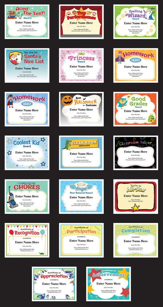 Child Certificates Achievement Pack Kids Certificates Teacher