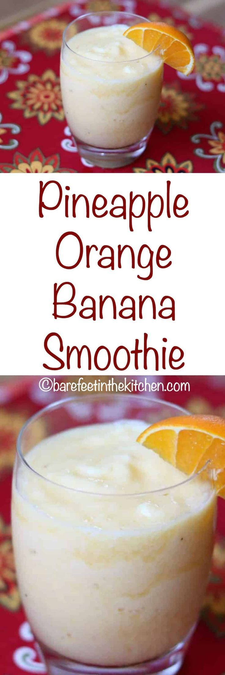 Pineapple Orange Banana Smoothie is a kid and adult favorite! get the recipe at barefeetinthekitchen.com