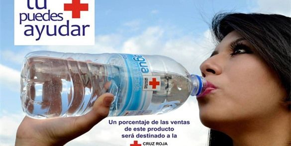 Lanza Cruz Roja marca de agua embotellada