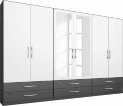 rauch PACK`S Kleiderschrank, grau, Breite 270 cm, 6-türig, ohne Aufbauservice, ohne Aufbauservice, 2 Spiegel, graumetallic-weiß