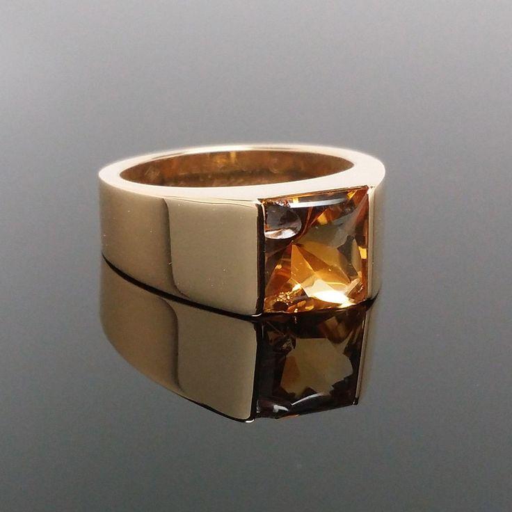 Cartier Tank 18k oro amarillo y el anillo citrino Sólidos 13,3 gramos EU53 de los Estados Unidos | Iman Joyeros