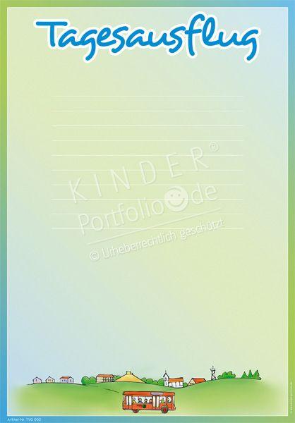 """Kindergarten Portfolio Vorlagen """"Tagesausflug"""""""