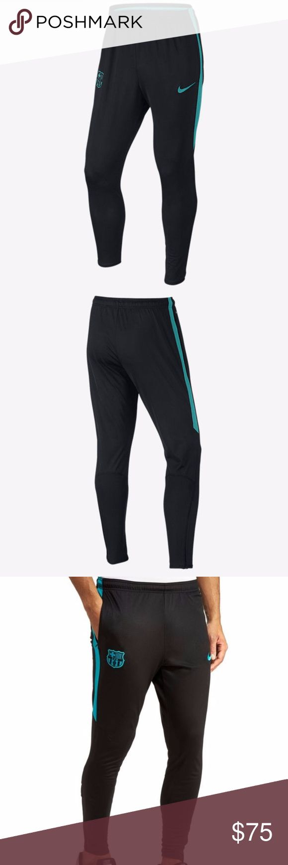 Nike FC Barcelona Dri-Fit Training Pants Sweats New with tags NIKE FC BARCELONA TRAINING PANTS 2016/17 Black/Energy SIZE LARGE $ XXL  The FC Barcelona Men's Football Pants are designed for superb mobility and ease during training and drills.  Benefits  Dri-FIT Technology helps keep you dry and comfortable Rib insets, tapered fit and ergonomic seams let you move naturally Zip hems slip easily over football boots Zip pockets for secure storage  Product Details Fabric: Body: Dri-FIT 100%…