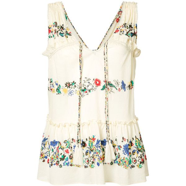 Derek Lam 10 Crosby floral vest ($295) ❤ liked on Polyvore featuring outerwear, vests, ivory, ivory vest, cotton vest, 10 crosby derek lam, vest waistcoat and cream vest