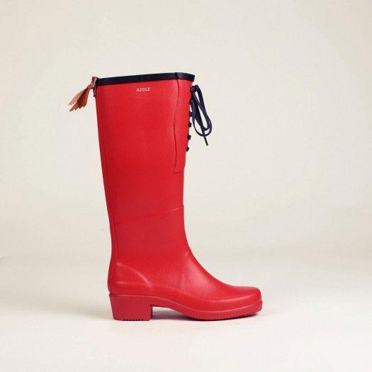 bottes caoutchouc poppy rouge miss juliette lacet femme - aigle 1