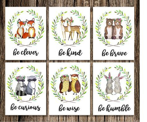 WORKS GREAT FOR FRATERNAL TWINS | SIBLINGS/BROTHER SISTER | RELATIONSHIPS | TEACHER/CLASSROOM Woodland Nursery Decor | Fox Deer Raccoon Owl Bunny Rabbit Bear | Woodland Animals | Woodland Creatures | Be Brave Be Kind Be Curious Be Clever Be Humble Be Wise | Set of 6 | Watercolor Art Be Clever ❧ Be Kind ❧ Be Curious ❧ Be Wise ❧ Be Brave ❧ Be Humble This Set of 6 Woodland Animal watercolor prints features an adorable owl, deer, fox, bunny and raccoon! Would look beautiful in a whit...