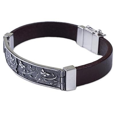 Sterling silver and leather wristband bracelet, 'Butterfly Garden' - Sterling Silver and Leather Wristband Bracelet from Peru