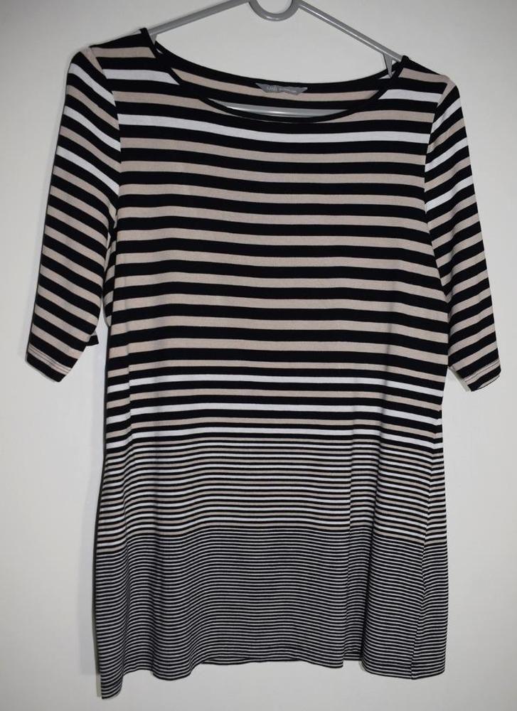 0139579896b M S WOMAN 3 4 Sleeved Striped Tunic Top Size 12 Eu 40 Stone Mix Viscose