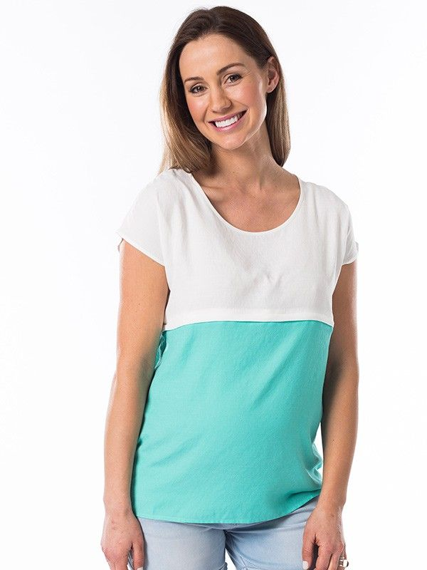 Sorbet Nursing Top in Mint from breastmates.co.nz -- Light, breezy linen-blend nursing top in cool mint sorbet. Flattering and stylish colourblock design in relaxed sizing, with hidden horizontal zip opening along the front seam for breastfeeding access that keeps your tummy covered.