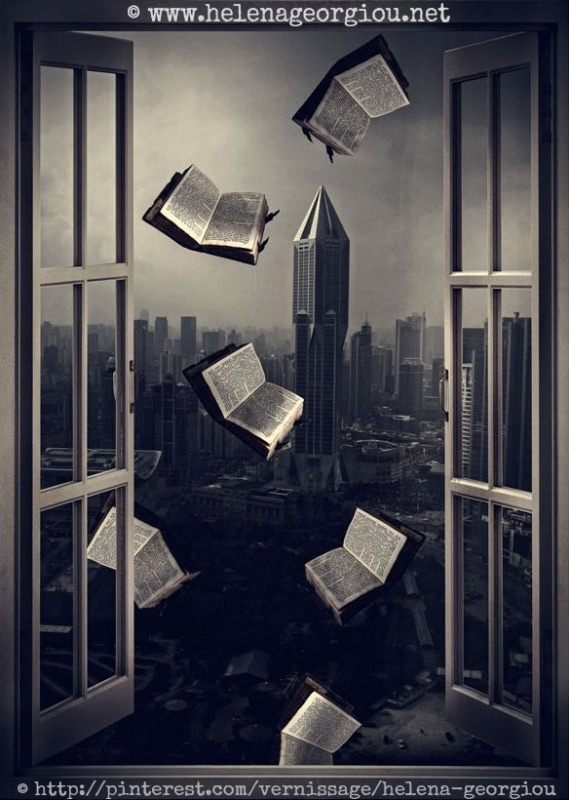 © Helena GEORGIOU Photography (PhotoArtist. Nicosia, Cyprus) ... Surreal Art.  Books fly out the window of a city skyscraper -pfb ... PRINTS available for purchase at artist's website ... Caption crediting the artist required by copyright law.   HOW TO FIND the ORIGINAL WEB SITE of an image: http://pinterest.com/pin/86975836525507659/ ATTRIBUTION & COPYRIGHT LAW REQUIREMENTS: http://pinterest.com/pin/86975836525792650/  The Golden Rule: http://pinterest.com/pin/86975836525355452/