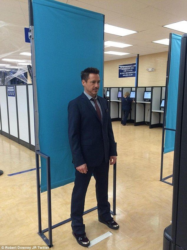 Say cheese: Robert Downey Jr. shared a snap renewing his driver's license at the DMV in Santa Monica on Tuesday