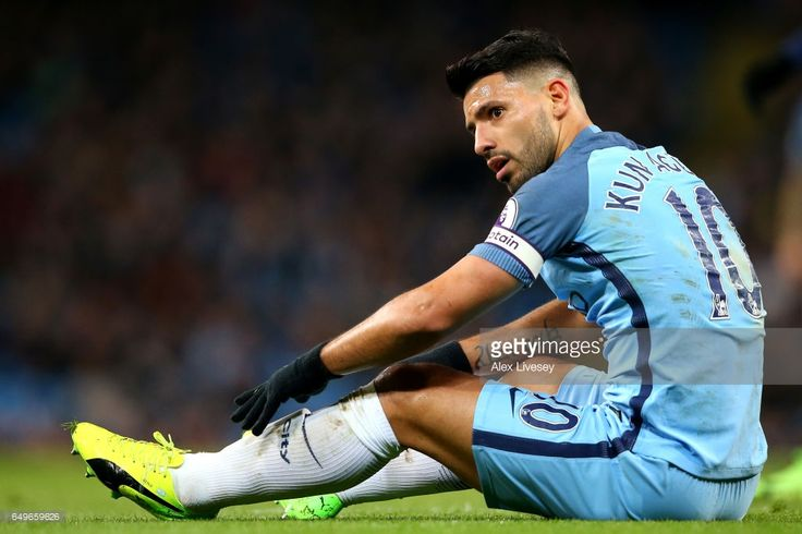 Sergio Aguero of Manchester City looks on during the Premier League match between Manchester City and Stoke City at Etihad Stadium on March 8, 2017 in Manchester, England.