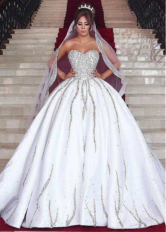 Brilliant Satin Sweetheart Neckline Natural Waistline Ball Gown ...