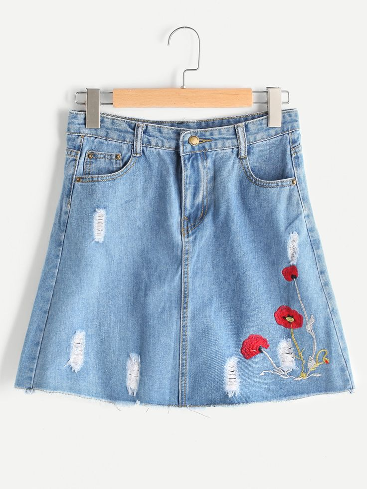 Shop Embroidered Ripped Denim Skirt online. SheIn offers Embroidered Ripped Denim Skirt & more to fit your fashionable needs.