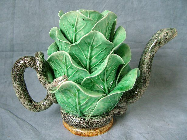 Mafra Majolica, cabbage ,serpent TeaPot