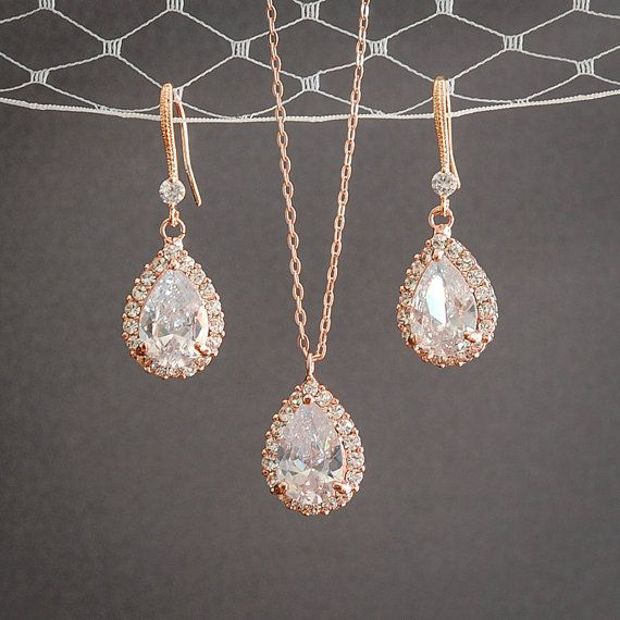 Rose Gold Wedding Jewelry SET Crystal Bridal by GlamorousBijoux