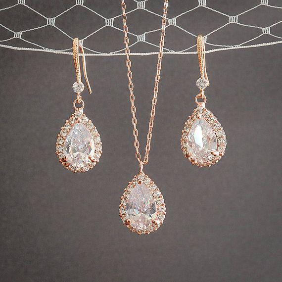 Rose Gold Wedding Jewelry SET Crystal Bridal by GlamorousBijoux