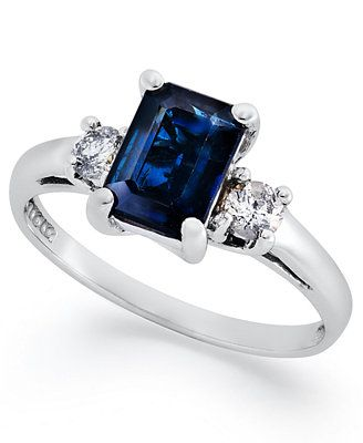 14k White Gold Ring, Sapphire (1-1/10 ct. t.w.) and Diamond (1/5 ct. t.w.) 3-Stone Ring